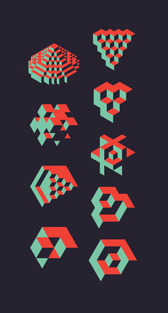abstract backround: Abstract 3d geometric objects, useful for logos or science backround. illustration Illustration