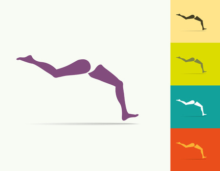 young girl nude: Set of running womans legs. vector