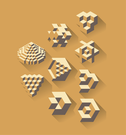 science symbols: Abstract 3d geometric symbols, useful for logos or science branch. Flat design