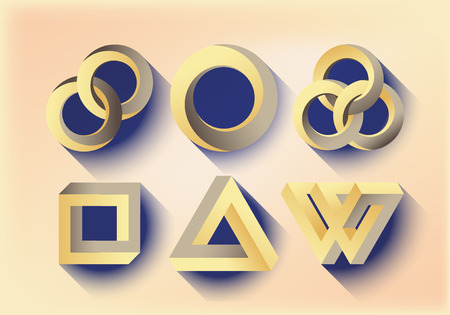 paradox: Impossibe looped shapes,circles, square and triangles. Flat design