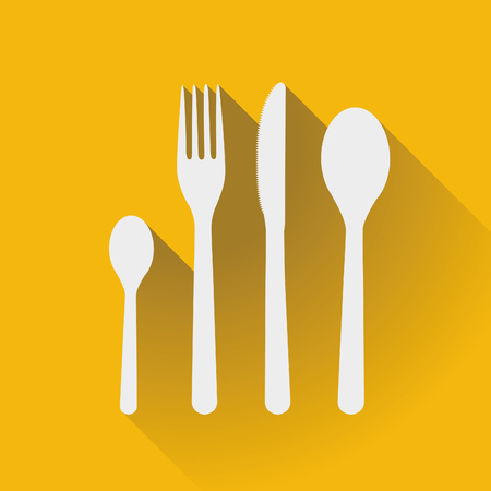 kitchen ware: Flatware - spoons, fork and knife in a flat design Illustration