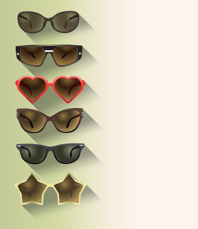 eyewear fashion: ladies sunglasses in a flat design Illustration