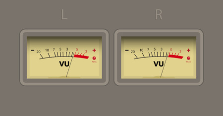 unit: Left and right channel volume unit meter. vector Illustration