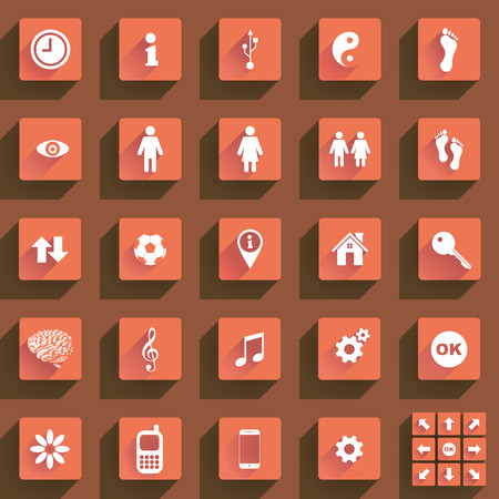 Set of various flat buttons and icons Illustration