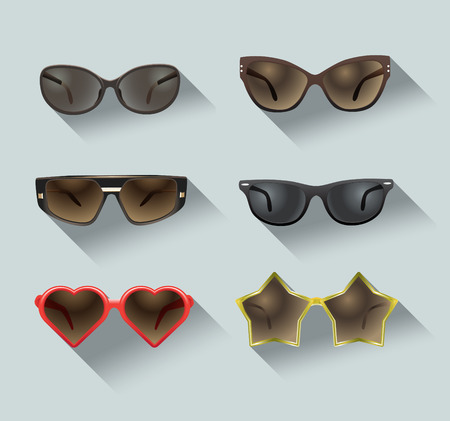 eyewear fashion: ladies sunglasses in a flat design, set of