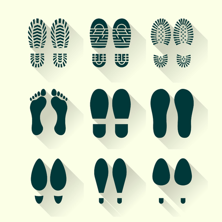 boots: Set of footprints and shoes in a flat design Illustration