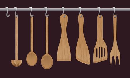 cocina vieja: Una colección de utensilios de cocina de madera colgando de la barra cromada. Ilustración Vectores