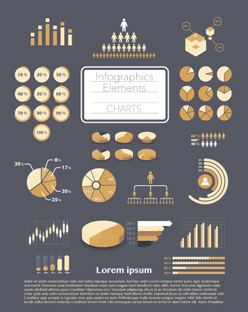 graphs and charts: Set of infographics elements - various charts, graphs, diagrams