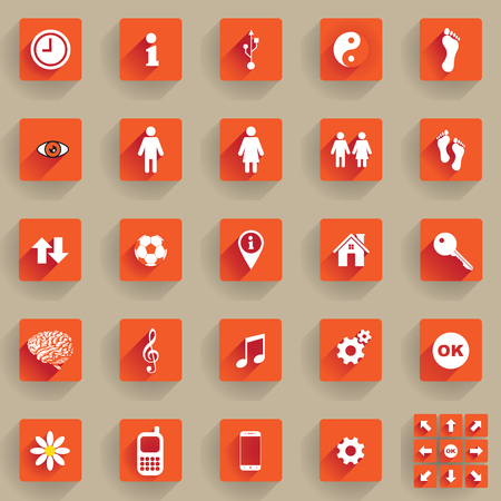 Set of flat buttons and icons
