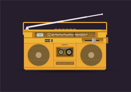 ghetto blaster: Magnetic cassette player, illustration Illustration