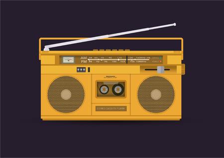blaster: Magnetic cassette player, illustration Illustration