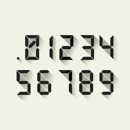 4 3 display: Set of digital numbers in a flat design, each digit separately. Vector Illustration