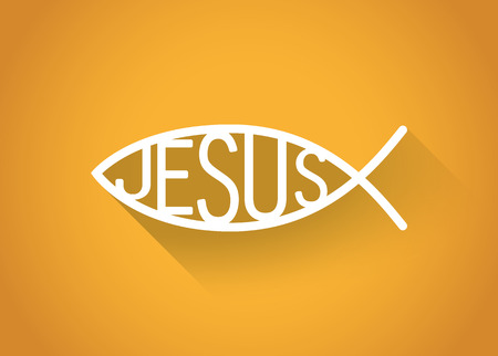 icthus: silver christian fish symbol in a flat design, illustration Illustration
