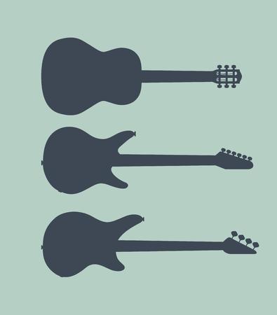 standalone: Set of standalone guitars. silhouette illustration
