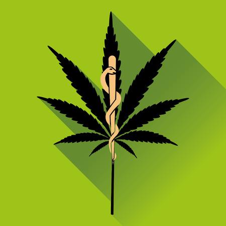 marihuana: Medical marihuana new logo, icon. Flat design vector illustration Illustration