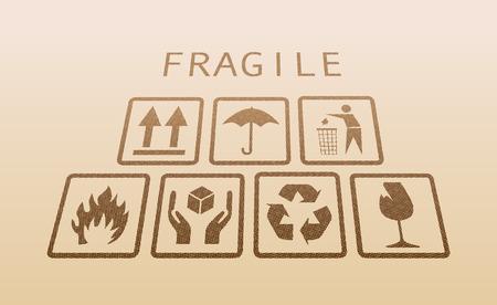 gently: Set of fragile symbol on gently perspective illustaration