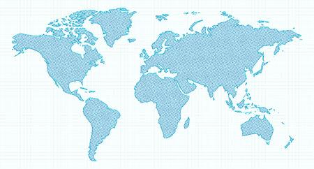 illustartion: Abstract dotted world map, vector illustartion Illustration