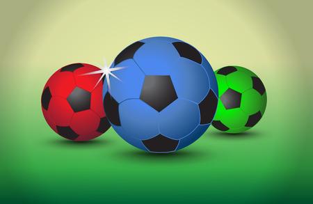 soccer background: Set of colorful soccer balls on light background, vector Illustration