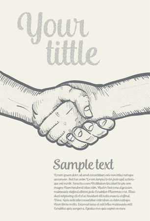 manos unidas: Dar la mano en modelo de semitono, ilustración vectort Vectores