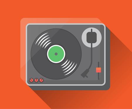 record: vinyl record player. Flat design, vector illustration