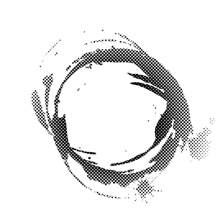 pouring: Halftone coffee ring spot, vector illustration