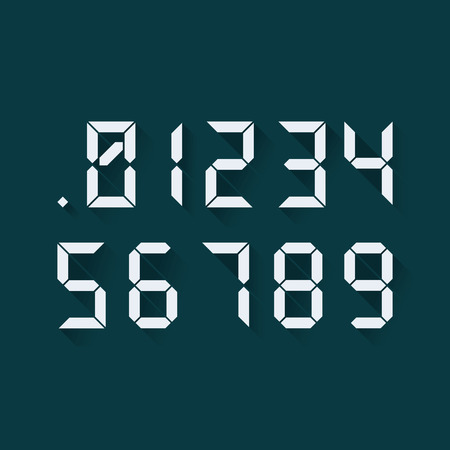 0 6: Set of digital numbers in a flat design, each digit separately. Vector Illustration