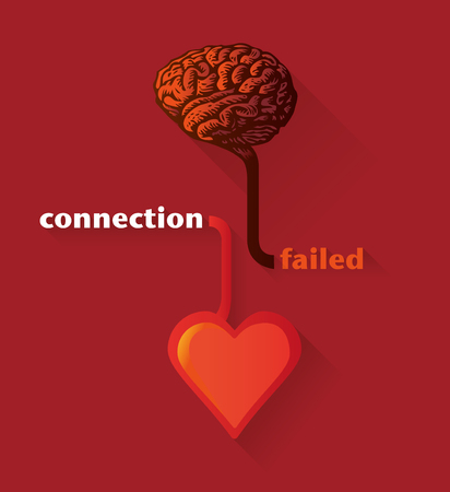 failed: connection between heart and brain failed, illustration in a flat design