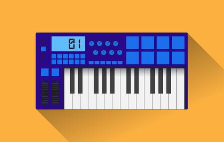 frequency modulation: Midi master keyboard in flat design, vector