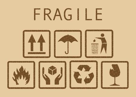 Set of fragile symbols, illustaration