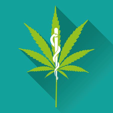 medical symbols: Medical marihuana new logo, icon. Flat design vector illustration Illustration