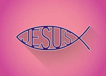icthus: Christian fish symbol in a flat design, illustration