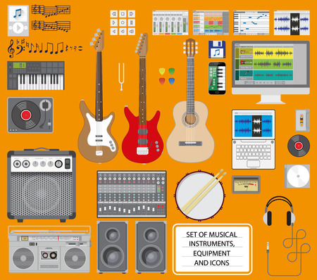 g string: Set of musical instruments, equipment and icons. Illustration