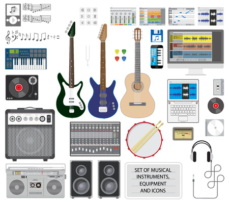 g string: Big set of musical instruments, equipment and icons.