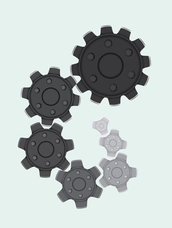 Set of cogwheels in a spiral shape