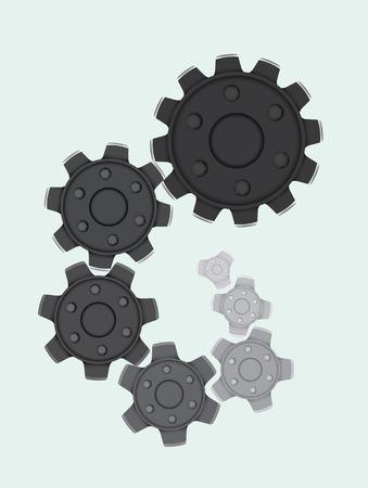 Set von Zahnrädern in einer Spiralform