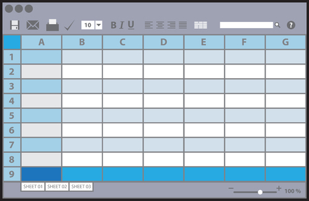 excel: Empty table document, colorful template illustration