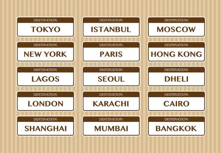 destination: Destination cities stickers
