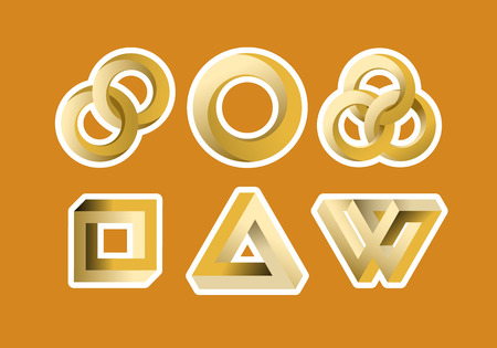 looped: Impossible looped shapes,circles, square and triangles, designed as stickers.