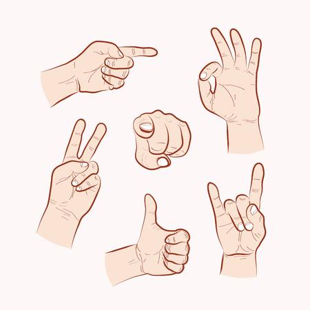 hand outline: Set of various hand gestures, hand drawn outline illustration. Vector