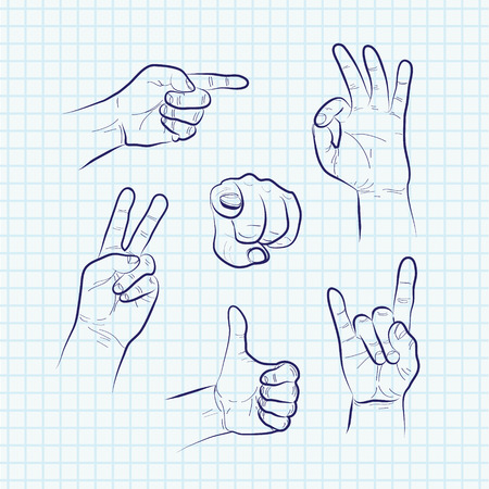 gestures: Set of various hand gestures, hand drawn sketch. Vector