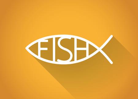 pez cristiano: pescados cristianos. s�mbolo de los pescados en un dise�o plano, ilustraci�n.