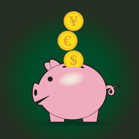 version: Piggy bank with coins. Ceramic piggy. Dark version illustration.
