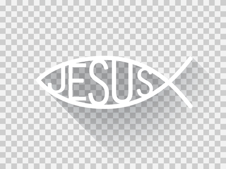 icthus: Christian fish symbol in a flat design, Jesus fish illustration, light version,  light checkered background.