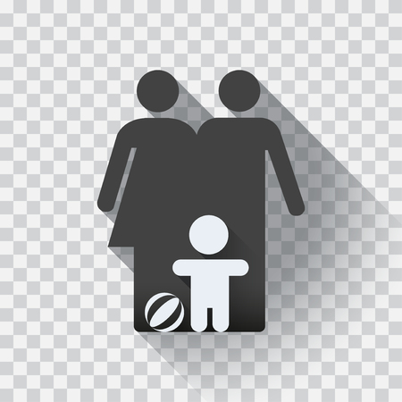 Icône de la famille, design plat. Symbole de la famille, illustration isolée, modifiable. fond de carreaux de lumière.