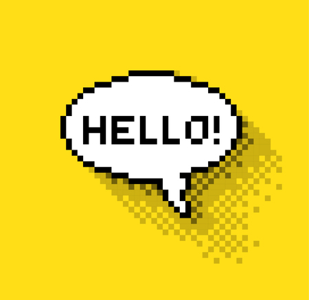 pixelated: Bubble greeting with Hi!, flat pixelated illustration. - Stock vector Illustration
