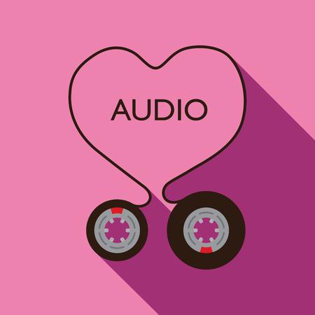 grabadora: Amo tema de audio en diseño plano, ilustración. - Imagen vectorial