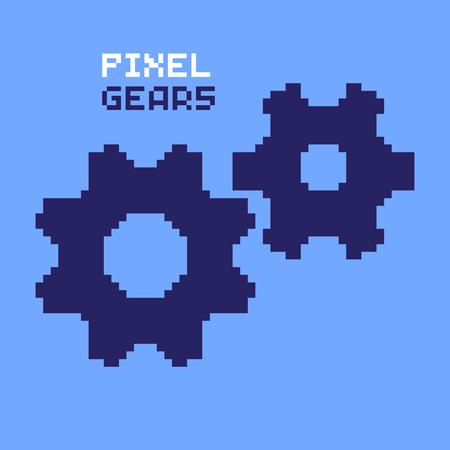 pixelated: Pixel gears, cogwheels, pixelated illustration. - Stock vector