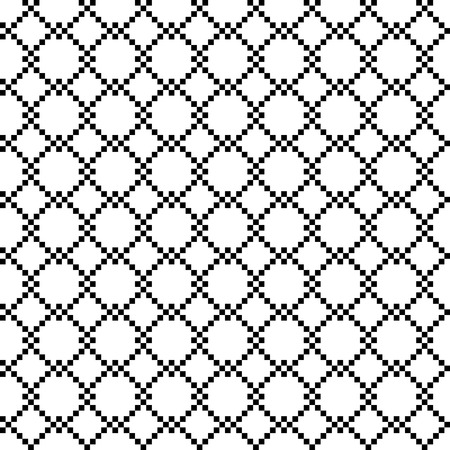chained link fence: Pixel wired frence field, seamless pattern, silhouette illustration. - Stock vector