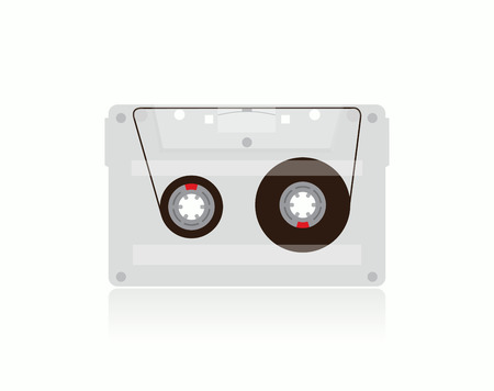 walkman: Classic transparent MC Cassette, illustration. Stock vector