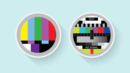 malfunction: Tv colour test, analog and digital symbols in a flat design. - Stock vector